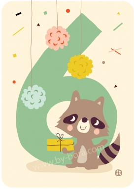 Six raccoon